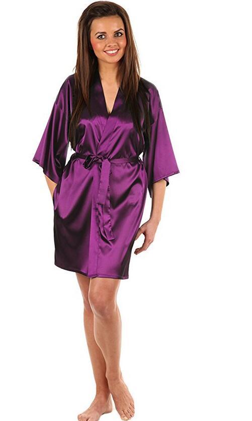 Sexy Large Size Faux Silk Satin Night Kimono Robe Short Bathrobe Perfect Wedding Bride Bridesmaid Robes Dressing Gown WY-01