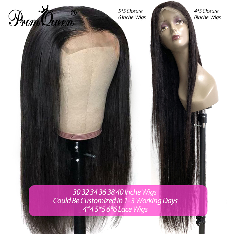 250% Density 30 32 34 36 38 40 Inch 4*4 Lace Clousure Human Hair Wigs With Baby Hair Brazilian Remy Hair For Black Women