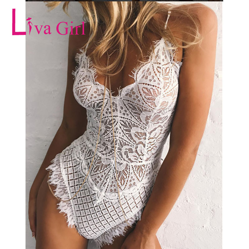 Liva Girl Sexy Eyelash Lace Bodycon Bodysuit Women V Neck Hollow Out Sleeveless   Jumpsuits   Black White Red Feminine Overalls XL