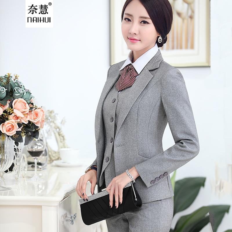 e1923364e2e 2017 Women High Quality Suit Set Office Ladies Work Wear Women OL Pant  Suits Formal Female Blazer Jacket Vest trousers 3 Pieces