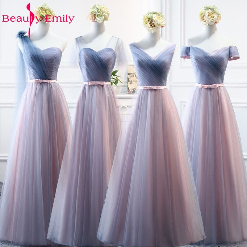 Beauty-Emily <font><b>Sexy</b></font> V Neck Tulle Long <font><b>Bridesmaid</b></font> <font><b>Dresses</b></font> For Wedding Party 2020 Wedding Guest Party <font><b>Dress</b></font> Vestido de Festa Longo image