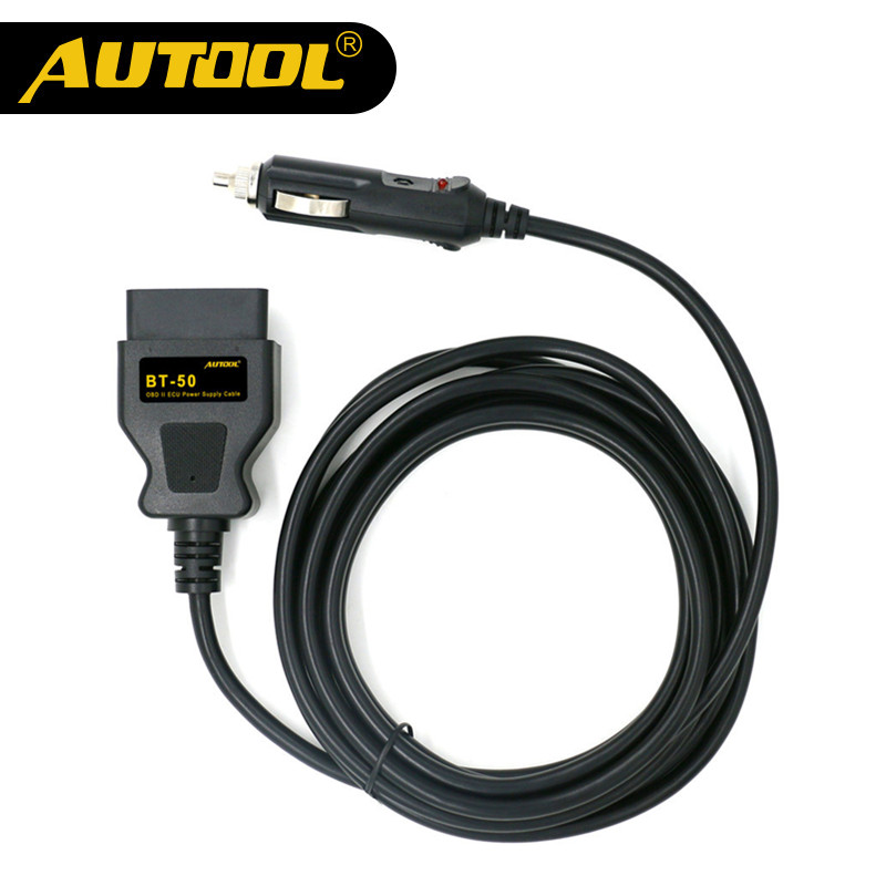 AUTOOL BT-50 OBD2 Vehicle ECU Emergency Power For 12V DC Power Source Supply Cable Memory Saver ECU Power Interface/Connector 3502075 ecu decoder for renault silver