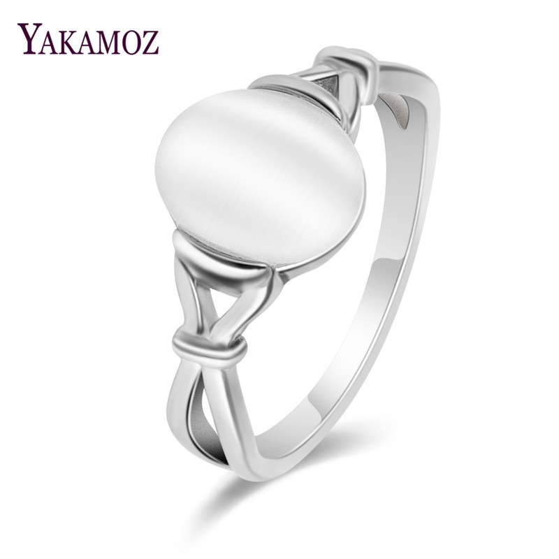 YAKAMOZ  Wedding Jewelry Natural Moonstone Rings High Quality White Opal ring for Women Valentine Gift 2018