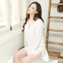 White shirt sexy chiffon pajamas tulle perspective temptation nightdress loose teasing home clothes female summer