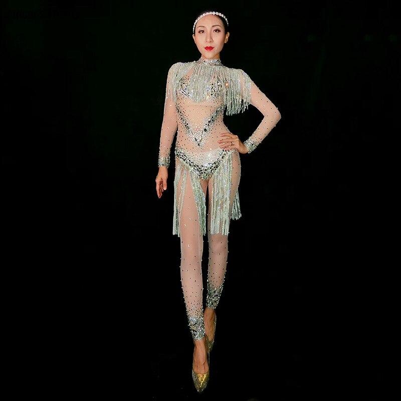 Горный хрусталь боди кисточкой сетки костюм кристалл комбинезон Sexy stretch купальник Детский комбинезон Сияющий Камень Одежда для сцены со св
