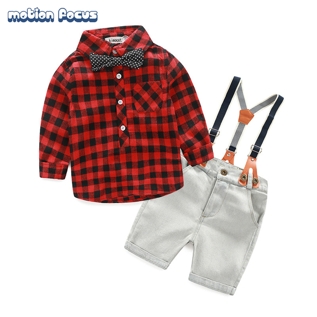 2017 Spring Baby Boy Clothing Sets Infants Cotton Children Suit Little Boys Gentleman Plaid Shirt With Tie+Overalls Shorts Pants