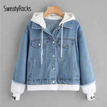 SweatyRocks Blue 2 In 1 Ribbed Knit Trim Hooded Denim Jacket