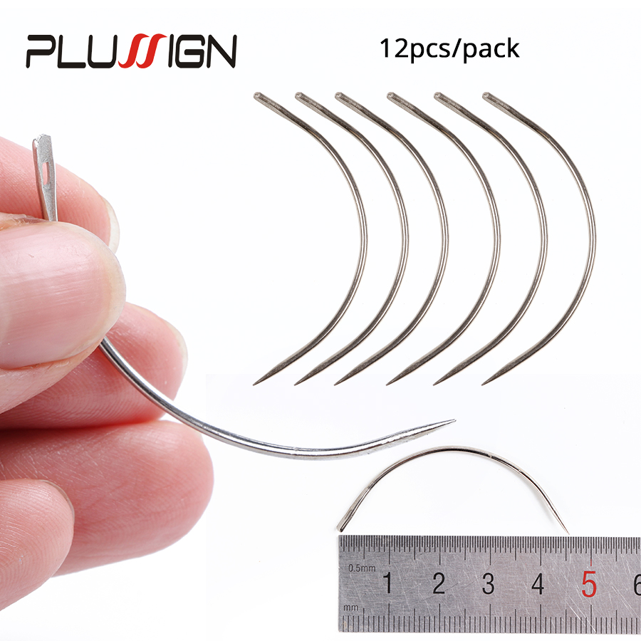 Plussign Good Quality 12 Pcs Wig Making Pins Needles Set C Curved Needles Hair Weave Needles For Wig Making Modelling And Crafts