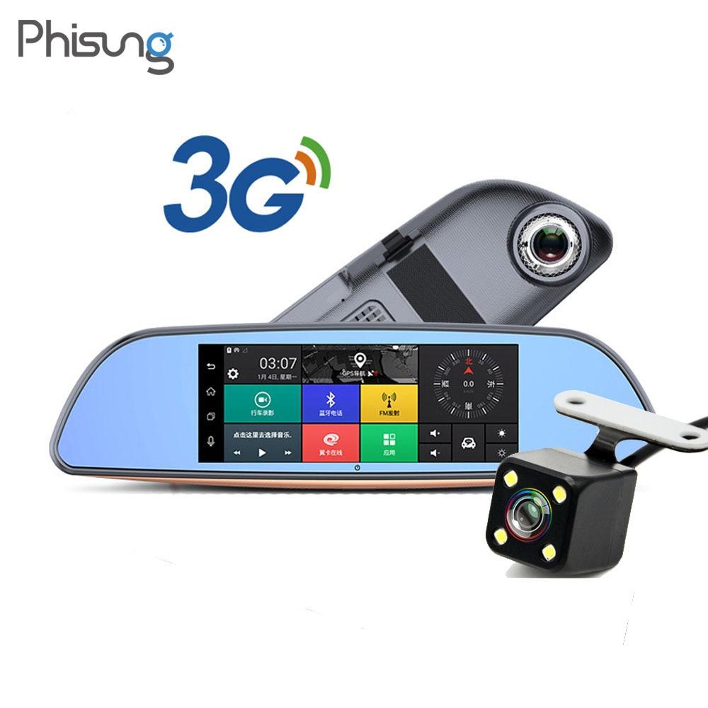 Car Dvrs 7 Touch Screen Android 5.0 3G Car Camera GPS Navigators FHD 1080P Video Recorder Mirror Dvr WIFI Dash Cam cu200 7 gps 3g car dvr камера ночного видения dash cam rearview mirror video recorder hd 1080p g sensor loop recording