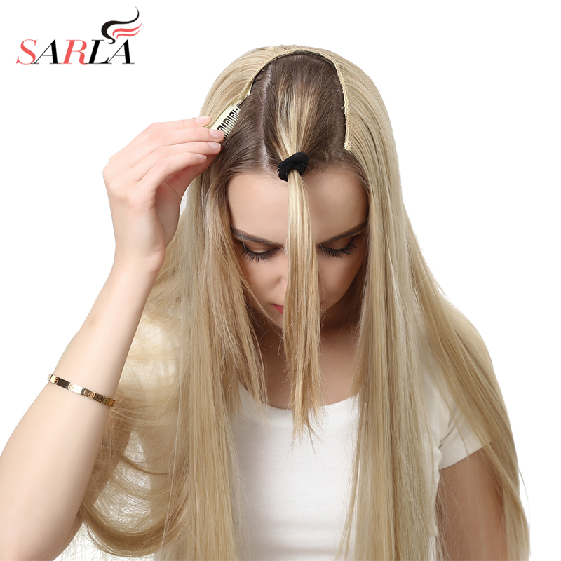 SARLA 60cm 24 170g Long Straight Full Head U-Part Clip-in Hair Extensions High Temperature Fiber Synthetic Hairpieces UH16