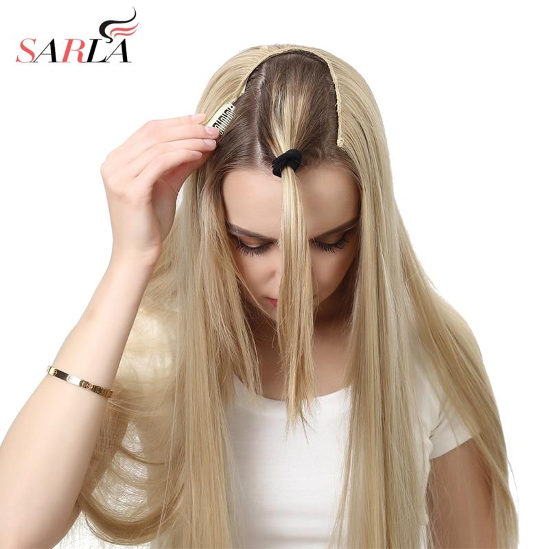 SARLA 24 170g u-part Clip dans l'extension de cheveux droite et ondulée Ombre une pièce tête longue naturelle faux synthétique postiches