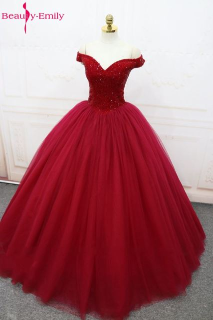 Beauty Emily Wine Red Ball Gown Wedding Dresses 2017 Beads Tulle V Neck Lace Up Wedding Party