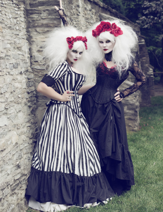 Tim Burton Wedding Gown Black White Stripe Victorian Steampunk