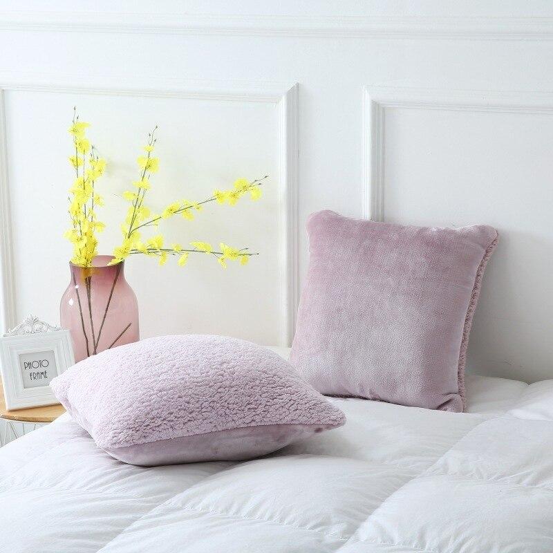Plain Simple Four Seasons Pillow Crystal Velvet Multi Plush Cushion Office Napkin Cushion 40x40cm