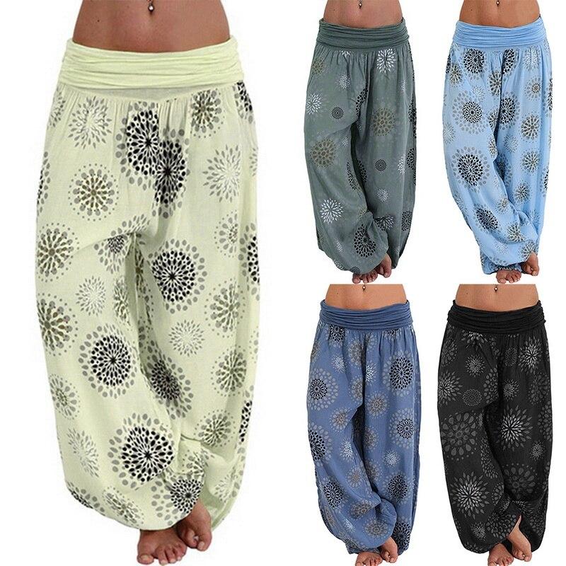 LAAMEI Bohemian Capris Pants Women Casual Loose Pants Summer Autumn Boho Long Pants Female Printed Fashion Ladies Bottom 2018