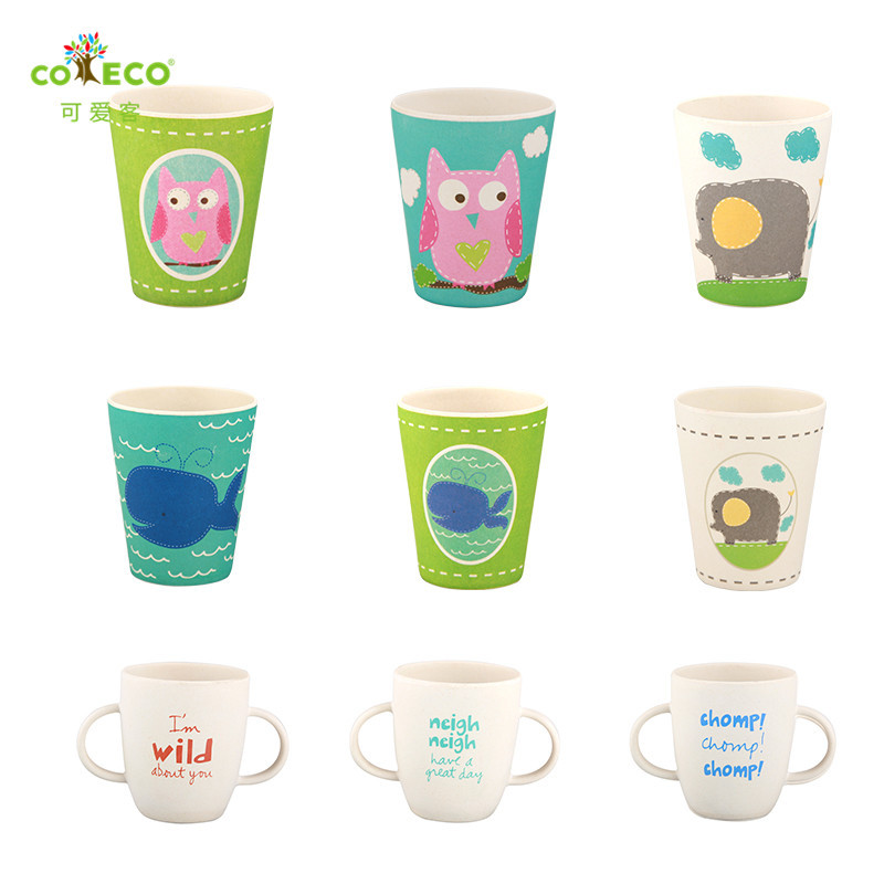 COECO Bamboo Fiber Children's Water Cup Environmental Health Baby Feeding Cup Cartoon Milk Juice Cup For Kids