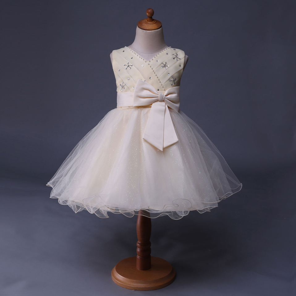 Cutestyles blanco marfil Niñas Vestidos para bodas sin mangas con ...