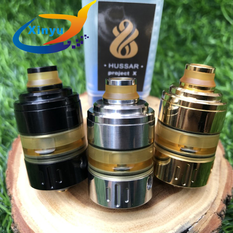 2018 Hot Hussar Project X style RTA 2 ml capacity 316 stainless steel Vaporizer adjustable air flow tank fit 510 thread vape mod2018 Hot Hussar Project X style RTA 2 ml capacity 316 stainless steel Vaporizer adjustable air flow tank fit 510 thread vape mod