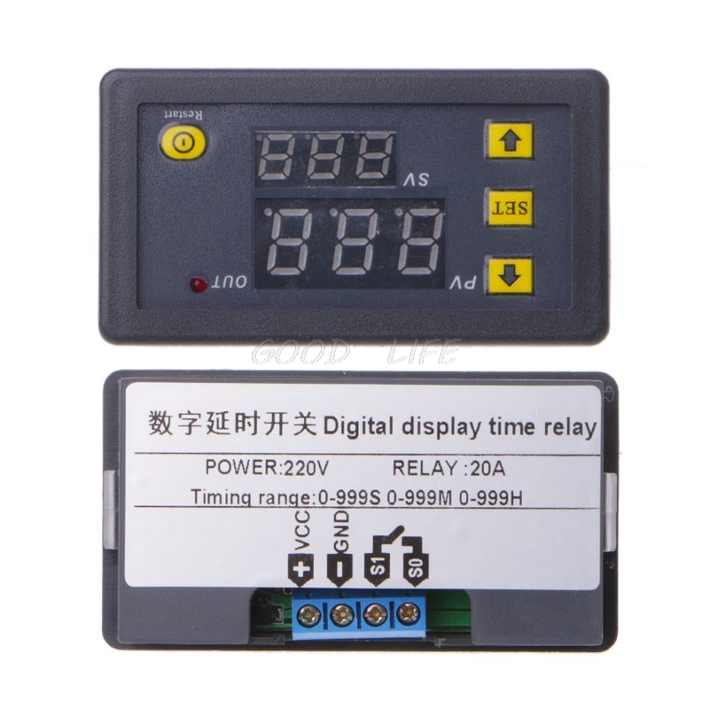 Timer Delay <font><b>Relay</b></font> Max <font><b>20A</b></font> Module Dual Digital LED Display Time Switch 0-999s 0-999m 0-999h Adjustable image