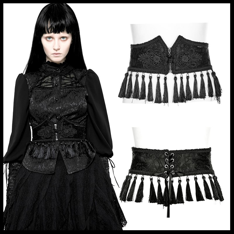 PUNK RAVE Women Steampunk Retro Clothes Accessories Gothic Palace Pattern Girdle Evening Party Wommen Tassel Cummerbunds