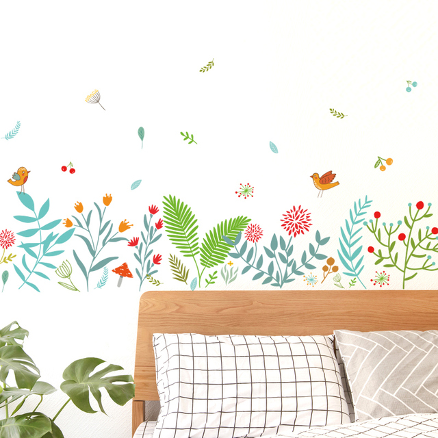 DICOR Big Wall Sticker Flowers Colorful Stained DIY Self Adhesive Waterproof Decal Removable Wall Decor Edge Stickers 2019 QT716