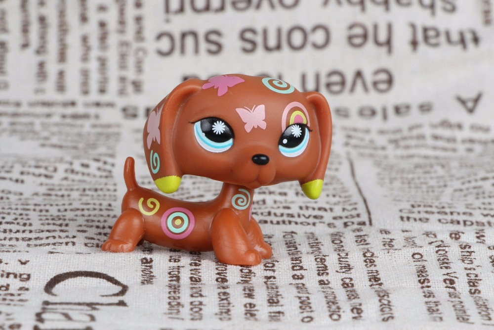 New pet Genuine Original LPS #1010 Dachshund brown postcard Tattoo puppy dog Collection figure Toys pet shop toys dachshund 932 bronw sausage dog star pink eyes
