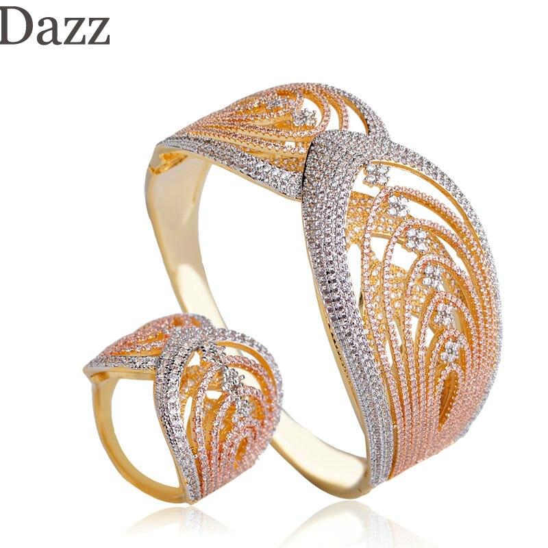 داز رائع طبقتين الملمس تصميم واسعة الإسورة حلقة ثلاثة نغمات الألوان الكامل الزركون مجموعات النساء الزفاف مأدبة النحاس مجوهرات-في أطقم المجوهرات من الإكسسوارات والجواهر على  مجموعة 1
