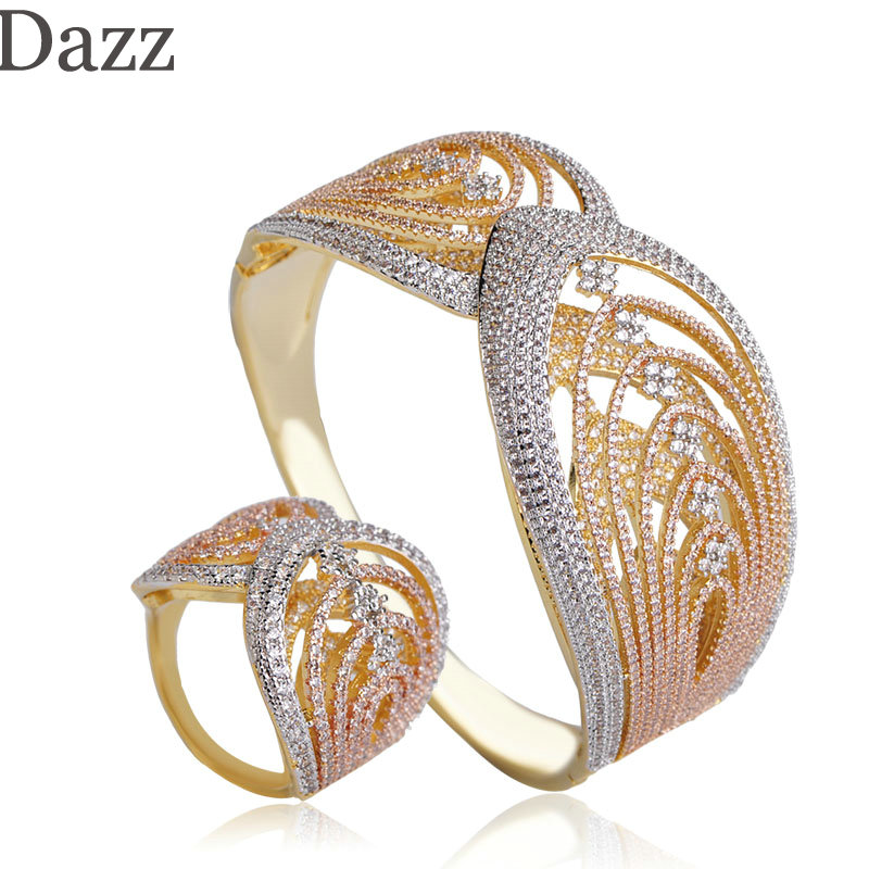 цены Dazz Gorgeous Two Layers Texture Design Wide Bangle Ring Three Tones Colors Full Zircon Sets Women Bridal Banquet Copper Jewelry