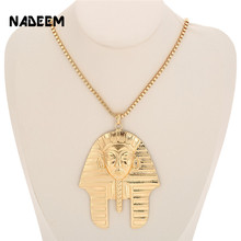 Newest Gold Color Metal Egyptian Pharaoh Head Face Pendant Necklace Men Women Design Hip Hop Style Long Chain Necklace Jewelry zchlgr bohomian smiley face necklace women round pendant necklace for women metal gold color sequins jewelry