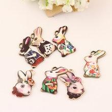 Bunny el Conejo de la Aleación del bronce de La Vendimia Colgantes Del Encanto BRICOLAJE de Joyas de Oro de Tono Floral Pulsera Cabeza de Animal Encanto de Metal Artesanía