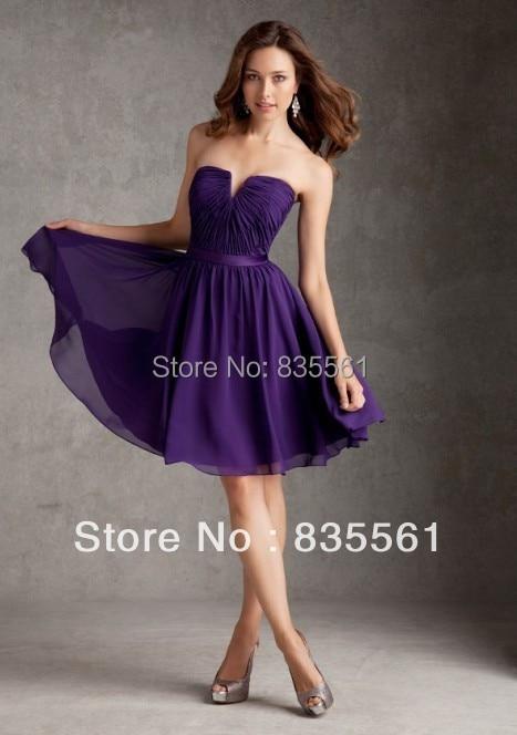 2015 Deep Purple Bridesmaid Dresses Short Knee length