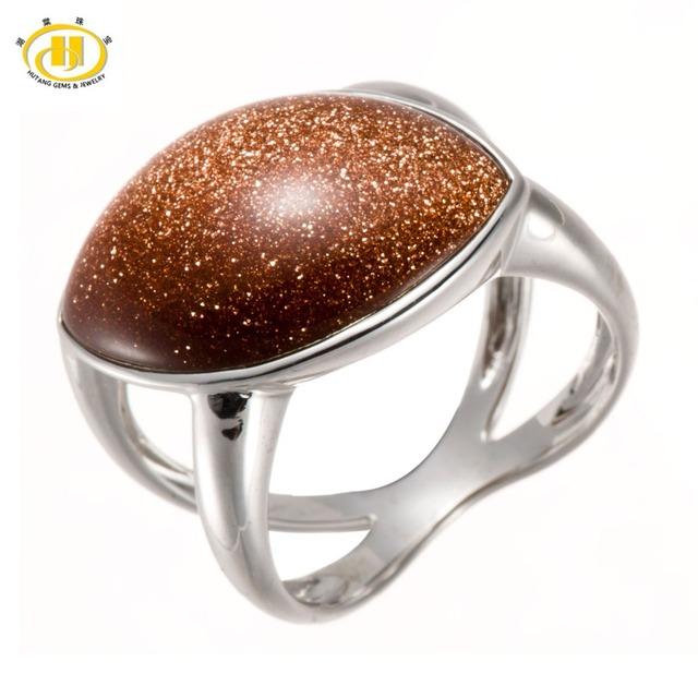 Hutang Gold Sand Stone Esterlina del Sólido 925 de Plata Anillos de Joyería Fina Para Las Mujeres de Moda Al Por Mayor