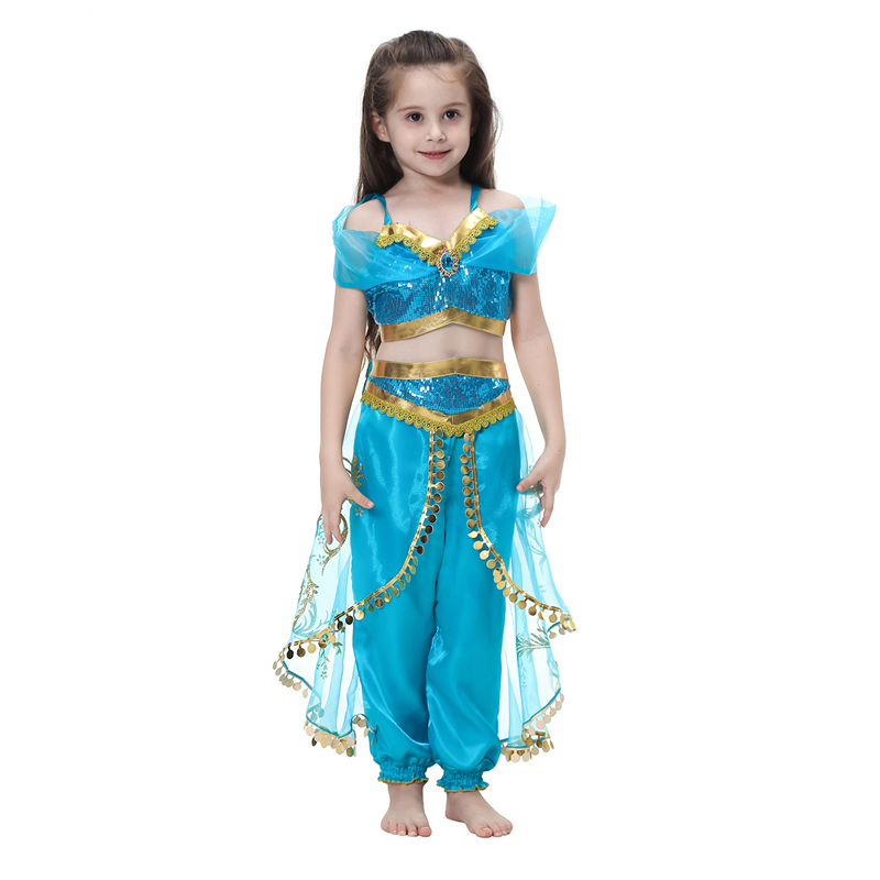 Arabian Princess Dress Costume for Girls Sleeveless Jasmine Cosplay Dresses
