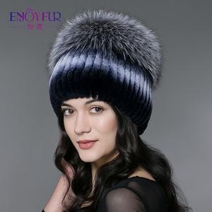 Image 2 - ENJOYFUR חורף רקס ארנב פרווה כובעים לנשים בימס למעלה סרוג עם שועל פרווה חדש מותג מזדמן כובעים באיכות טובה