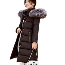 2016 New Camperas Mujer Invierno Outerwear Winter fur collar Parkas Women Hoods Cotton-padded Coat Medium Casual Jacket JX019