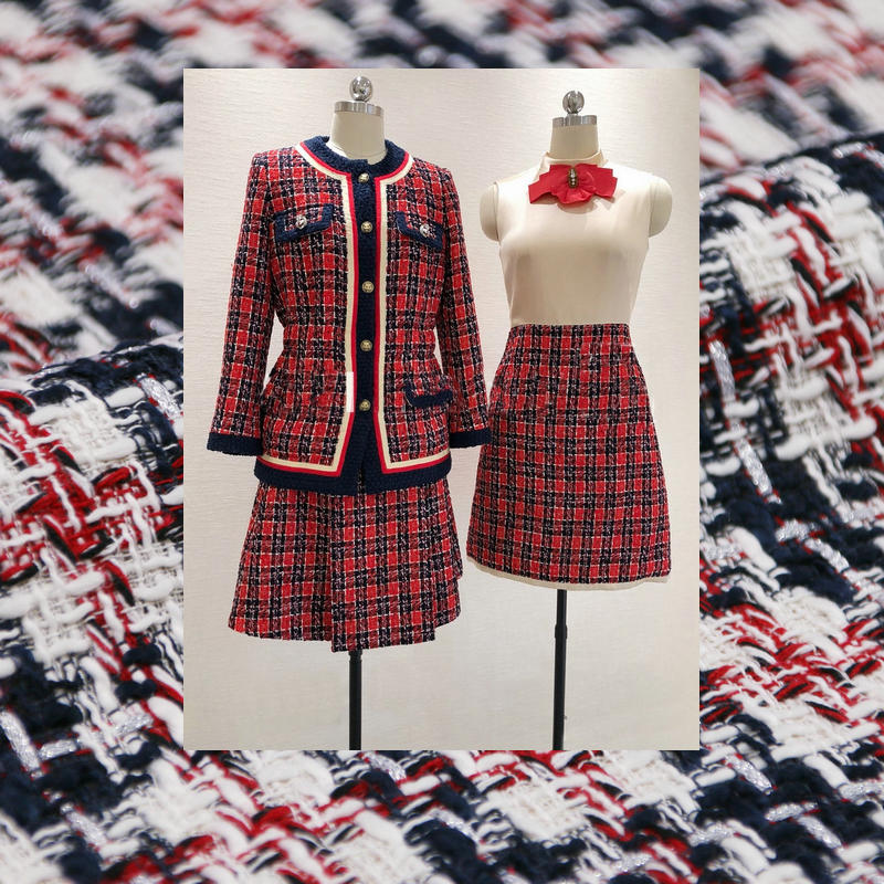 2 Colors Thick Tweed Fabric Yarn Dyed Braided Tweed Fabric For Women's Coat Winter Fabric Tissu au Meter For Women Dress Sewing