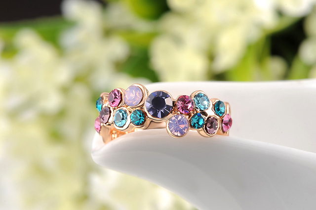 AENINE Fashion Colorful Austrian Crystal Ring Rose Gold Color Gift Jewelry for Women Anillo de Mujer Anel anneau L2010438215