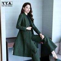 Из двух частей в полоску Широкие штаны комплект Для женщин 2018 Осень корейской моды Тонкий Блейзер Однобортный длинная куртка брючный костю