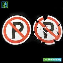 30 pcs Dia.100mm Frete grátis etiquetas Destrutíveis papel frágil adesivos sinal de estacionamento para carros com logotipo de NENHUM ESTACIONAMENTO rótulos