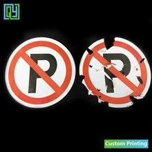 30 pcs Dia.100mm משלוח חינם שביר נייר מדבקות לא חניה סימן עבור מכוניות Destructible תוויות עם לוגו של אין חניה תוויות