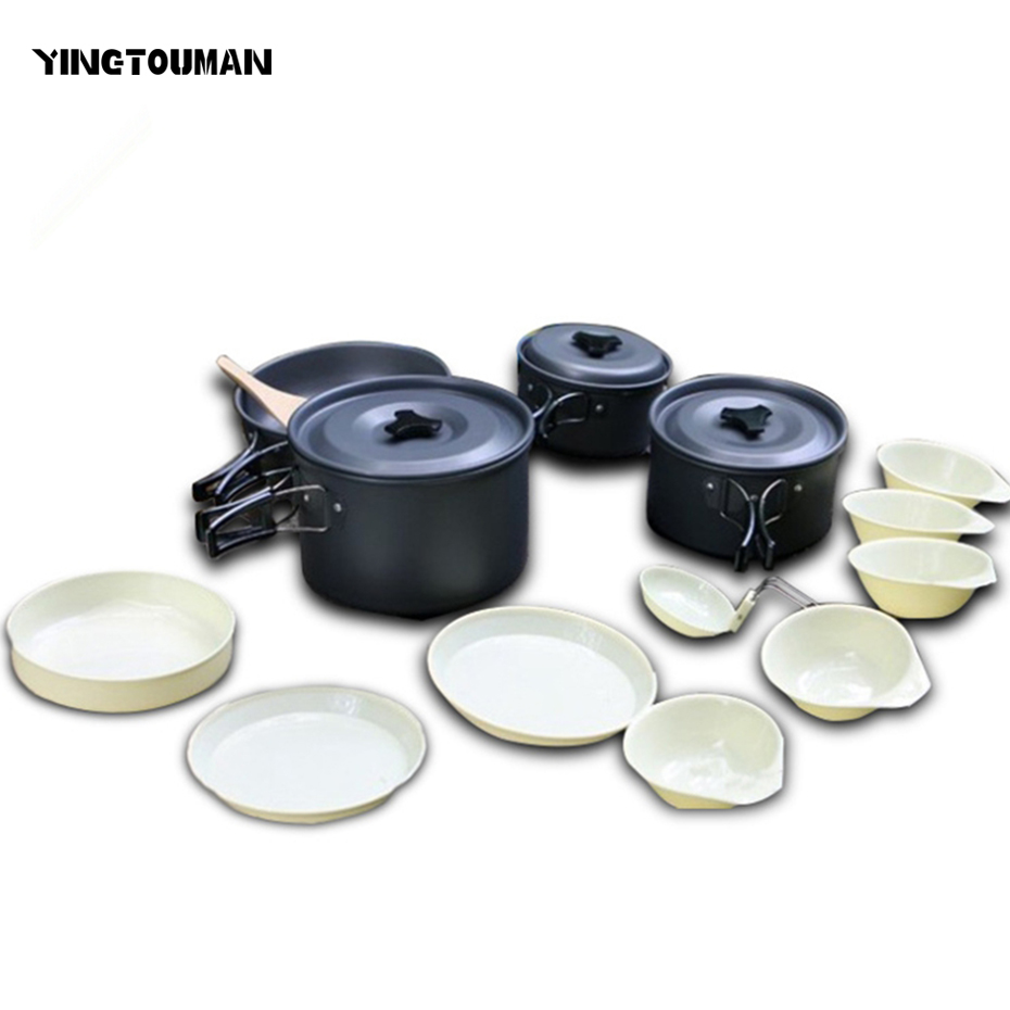 YINGTOUMAN New Arrival Non-stick 13pcs Outdoor Portable Cookware Aluminum Alloy Pot Bowl Camping Foldable Picnic Cooking Set evernew eca412 ti non stick pot m set
