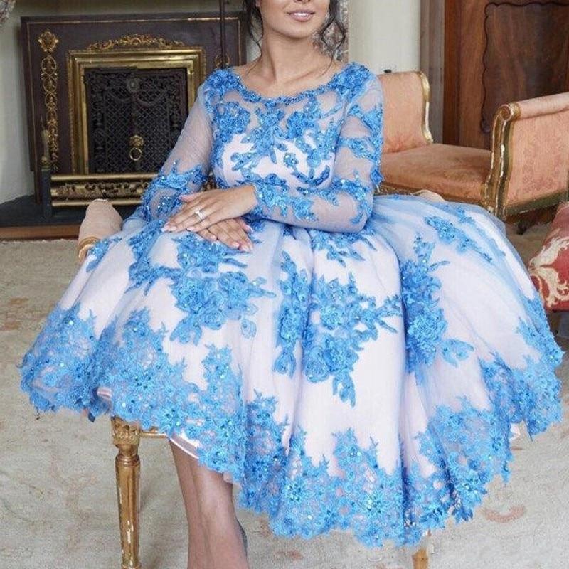 Blue Evening Dresses A Line Applique Tulle Midi Party Dress 2018 Glamorous Dubai Evening Gown Full Sleeves abiye gece elbisesi