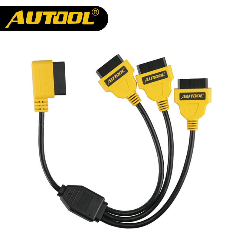 AUTOOL OBD2 Split Cable 1 to 3 Converter Adapter 50cm OBD2 Splitter Y Cable J1962M to 3-J1962F Splitter OBD2 Extension Cable lm323k to 3