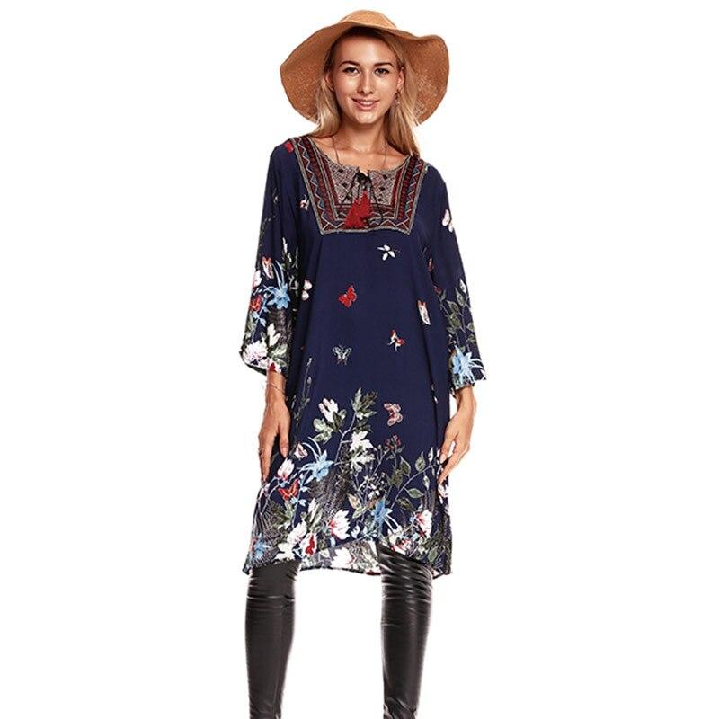 2019 Spring Summer Boho Dress Floral printed butterfly Pattern Dresses Women folk-custom ethnic Long Tops Beach wear
