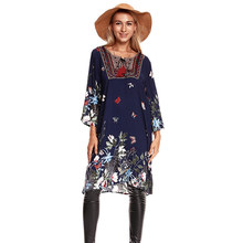 2019 Spring Summer Boho Dress Floral printed butterfly Patte