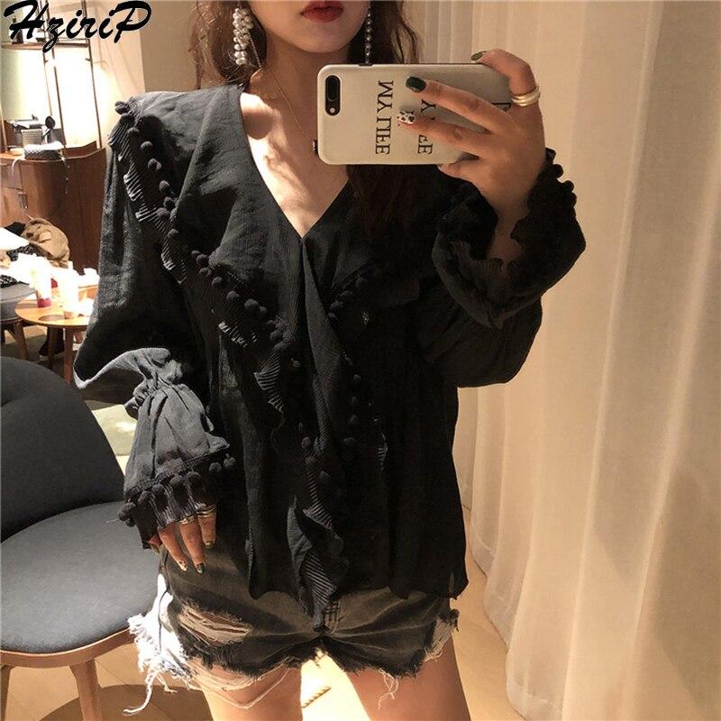 a78fa6afeb7 Cheap HziriP coreano 2019 Primavera Verano Casual Oficina mujer camisa  suelta sólida Vintage de manga larga