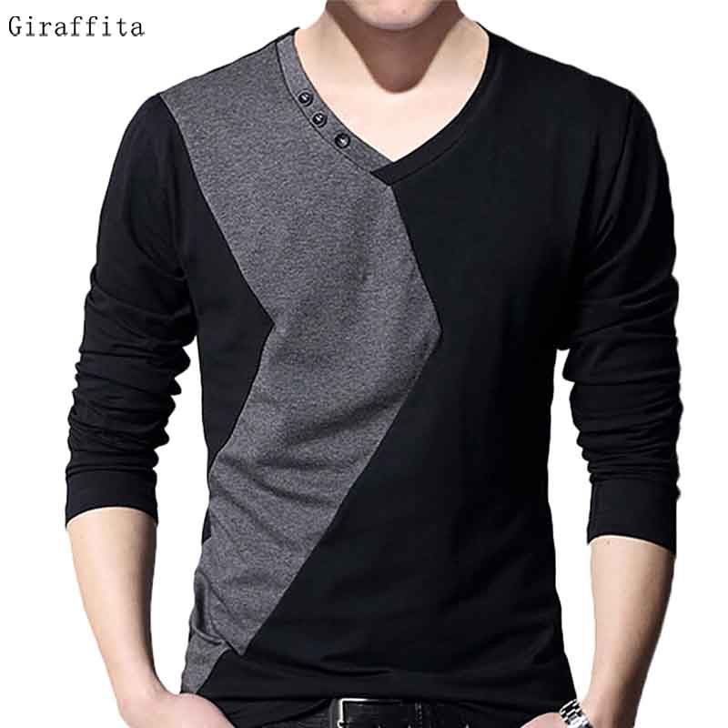Hot Sale font b Men s b font Slim Fit Stitching T font b Shirt b