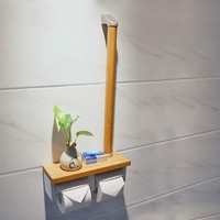 Bathroom paper towel holder with armrests can be placed mobile phone toilet toilet paper holder double roll wood LO64246