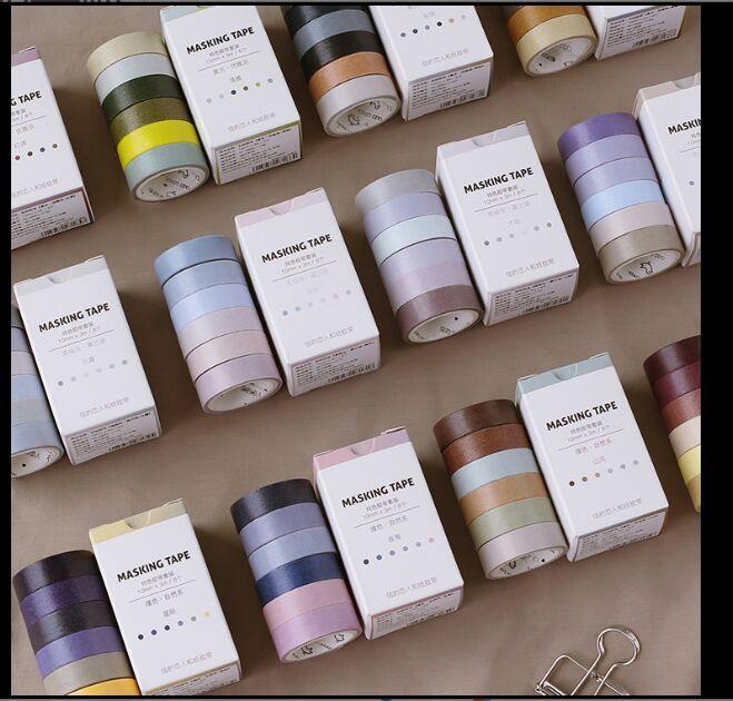 6Pcs/box Vintage Solid Contrast Color Retro Elegance Pure Morandi Grey Washi Tape DIY Planner Diary Scrapbooking Masking Tape