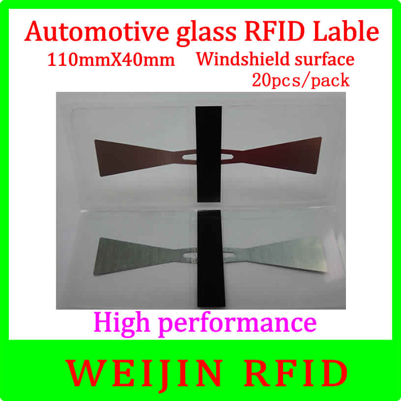UHF RFID Tag Car glass 11040 110mm*40mm 20pcs per pack ,can be used for Windshield surface Car management free shipping. 1000pcs long range rfid plastic seal tag alien h3 used for waste bin management and gas jar management